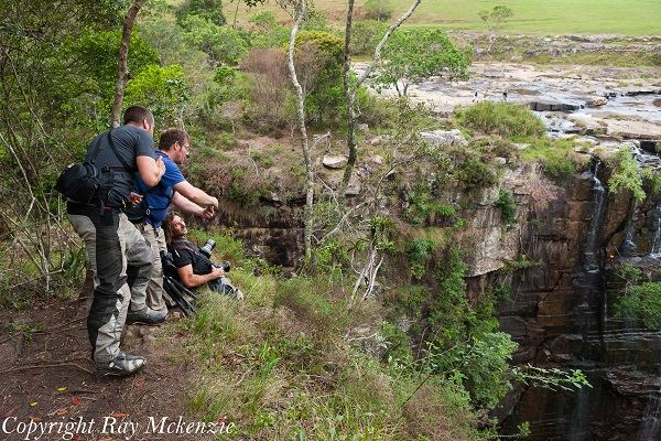 Anthony Carrino, Don and Neale Bayly on the edge of Magwa Falls South Africa