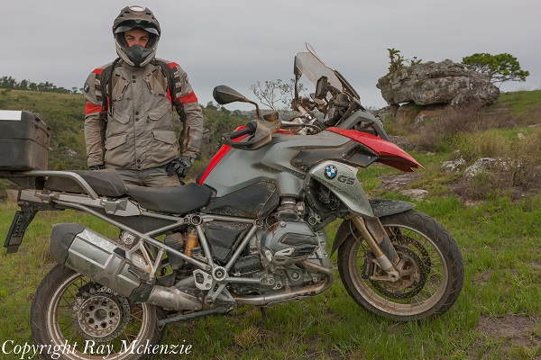 Anthony Carrino and his BMW R1200GS in South Africa
