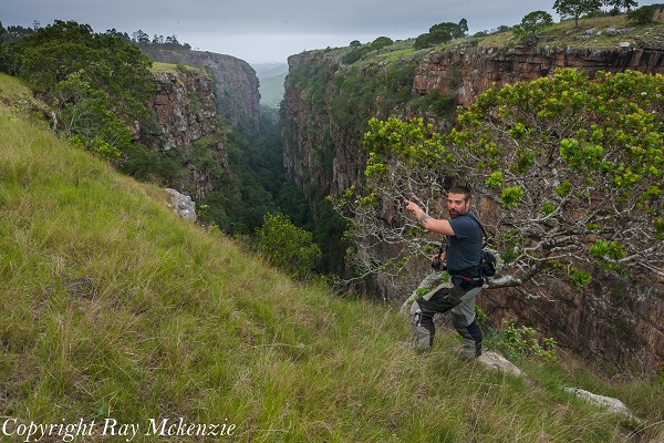 Anthony Carrino on the edge of Magwa Falls South Africa