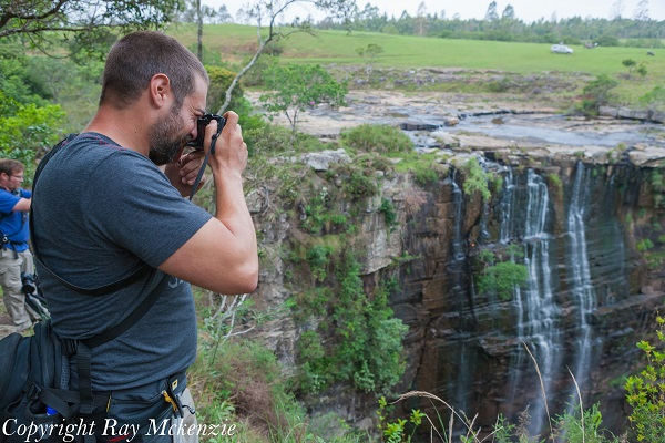 Anthony Carrino photographing Magwa Falls South Africa