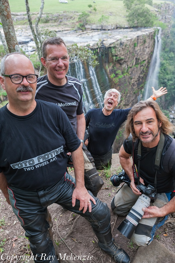 Johann, Cris, Bob, and Neale Bayly at Magwa Falls South Africa