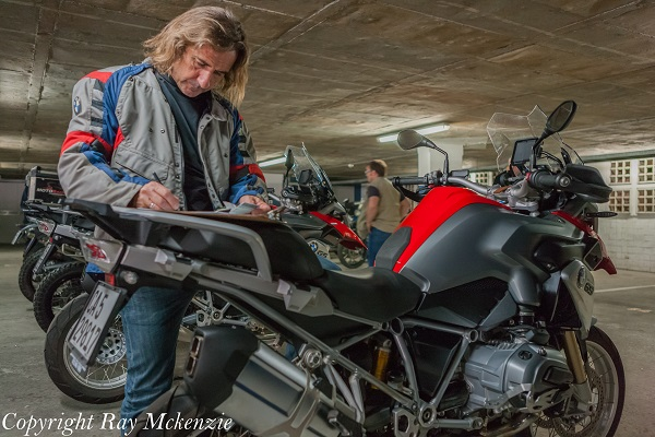 Neale Bayly signing for the 2013  BMW R1200GS