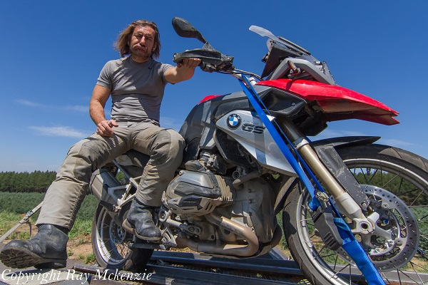 Neale Bayly sustained a puncture in his BMW R1200GS so it ended up on the trailer in South Africa