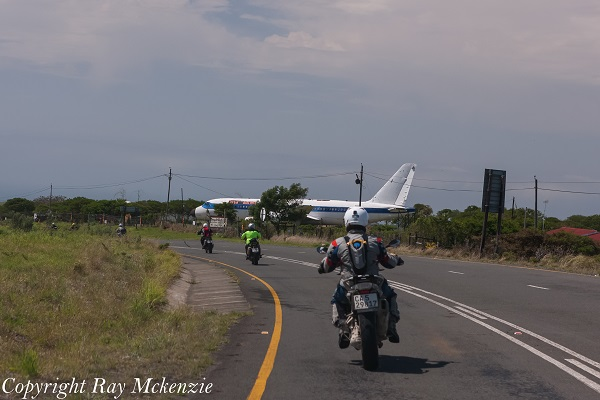 Plane beside road South Africa