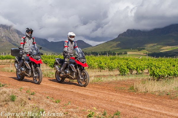 South Africa Day 3 - with Neale Bayly and Anthony Carrino with the BMW R1200GS  in Vineyards 2