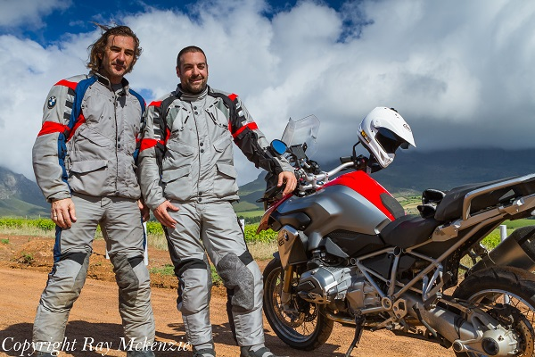 South Africa Day 3 - with Neale Bayly and Anthony Carrino with the BMW R1200GS  in Vineyards