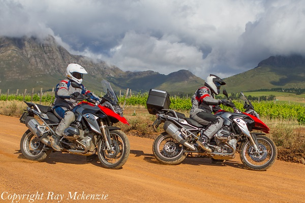 South Africa Day 3 - with Neale Bayly and Anthony Carrino with the BMW R1200GS sliding in Vineyards