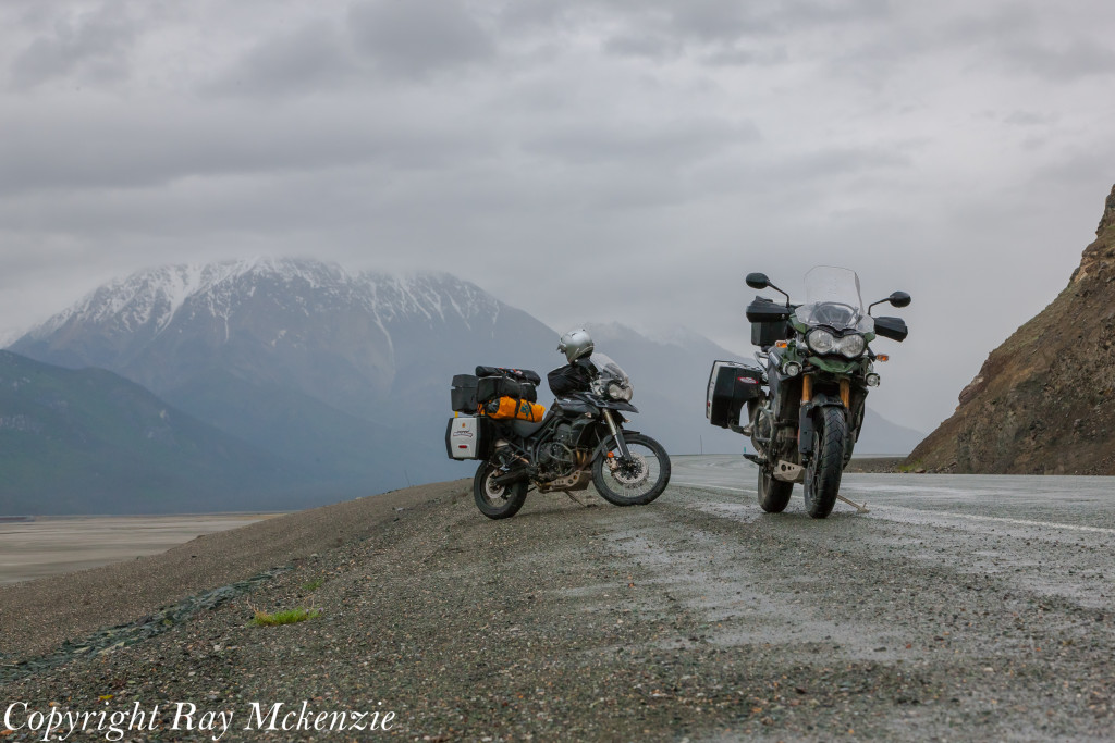 Neale Bayly with Ray Mckenzie Alaska Adventure on Triumph Motorcycles Kluane Lake
