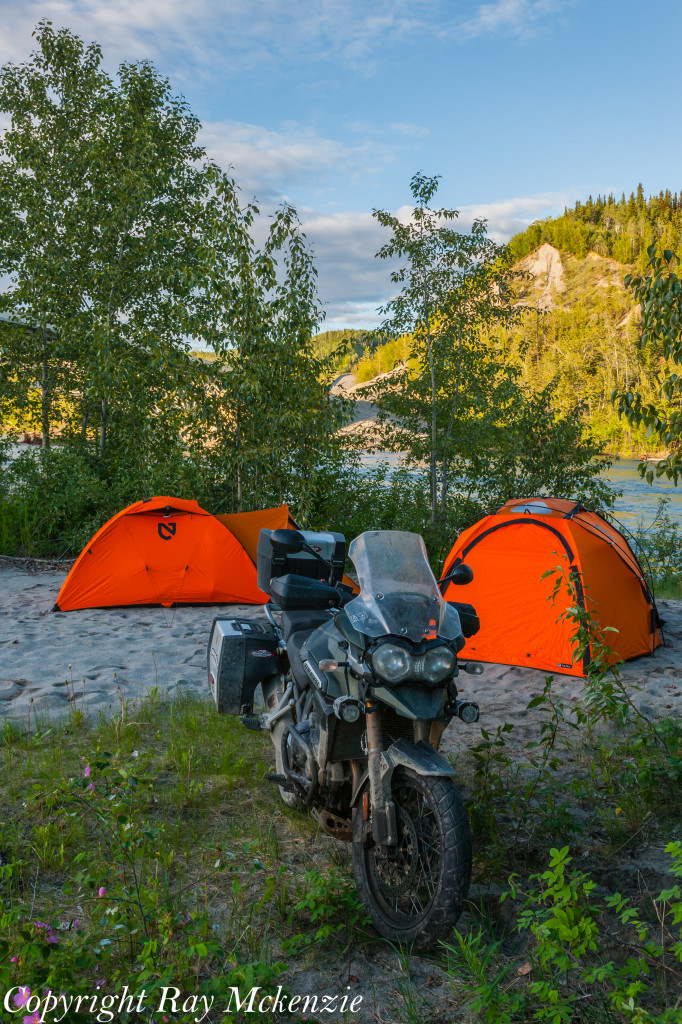 Neale Bayly with Ray Mckenzie Alaska Adventure on Triumph Motorcycles Riverside camping