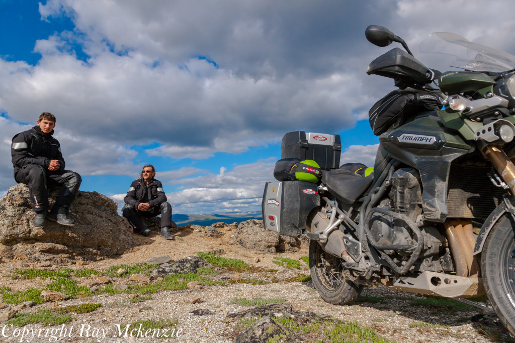 Neale Bayly with Ray Mckenzie Alaska Adventure on Triumph Motorcycles father son 2